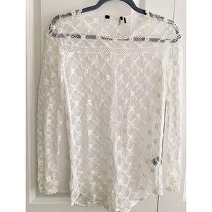 Isabel Marant Sheer Lace Long Sleeve Top